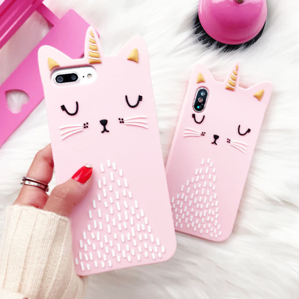 3D Pink Cat iPhone Case