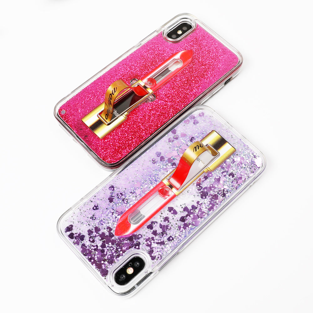 Lipstick Glitter Ring Holder iPhone Case