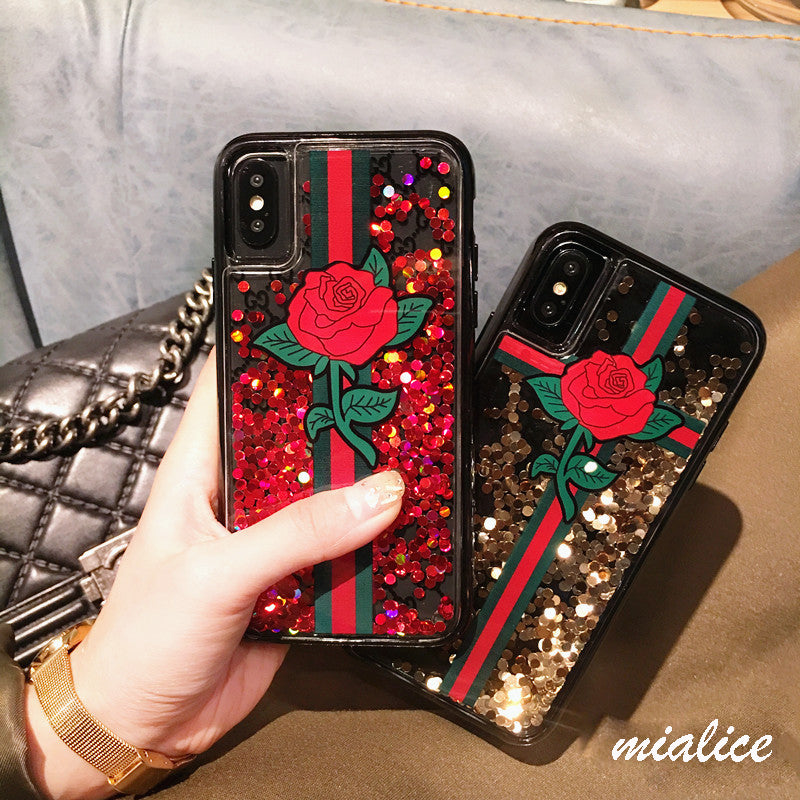 3D Red Rose Quicksand iPhone Case