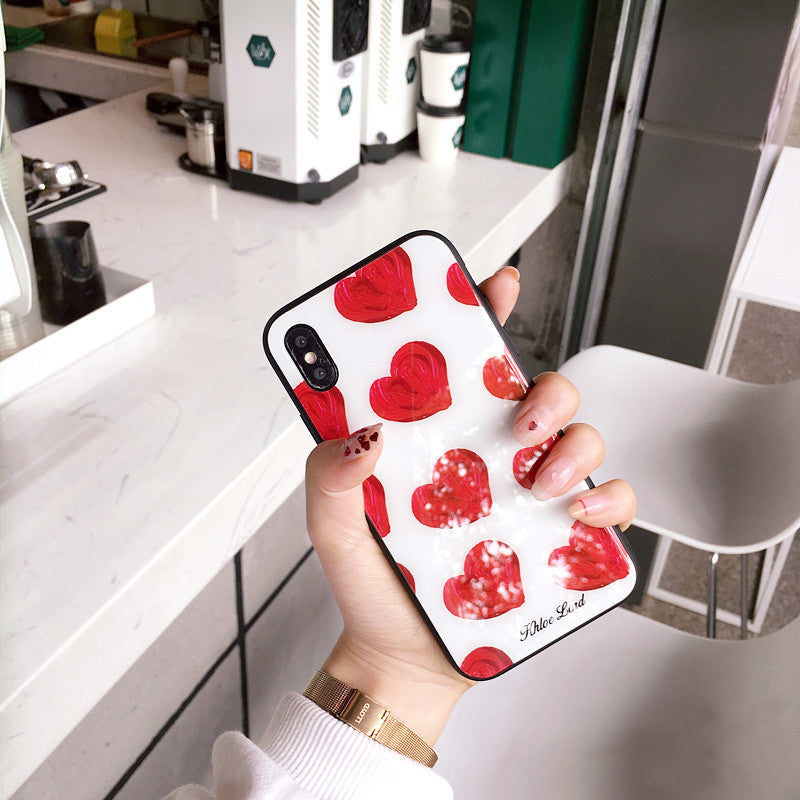 Red Love Heart Glass iPhone Case