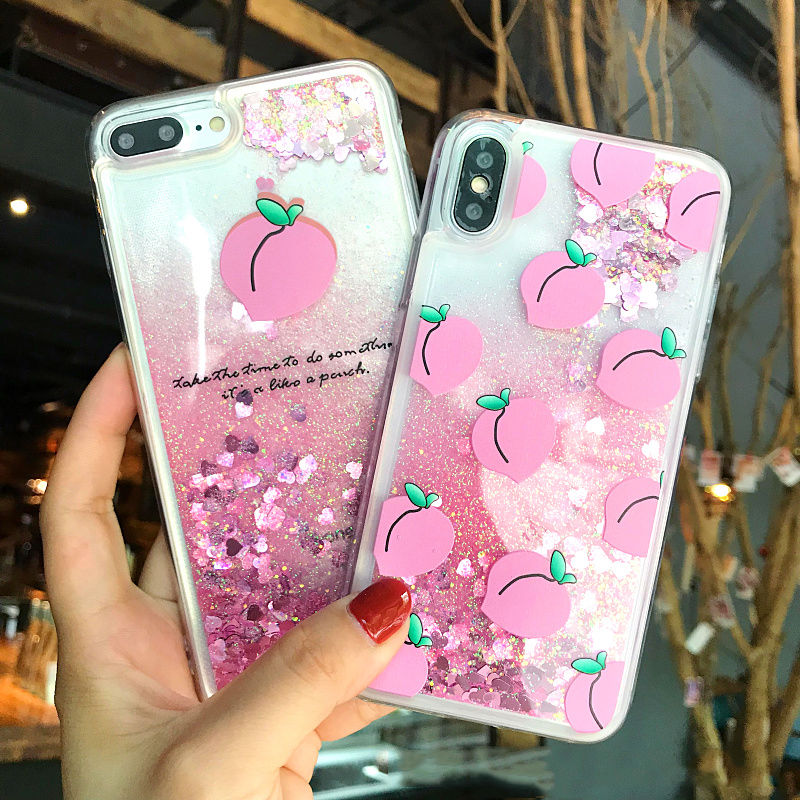 Peach Liquid Glitter iPhone Case