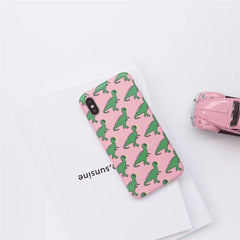 Pink Dinosaur Painted iPhone Case