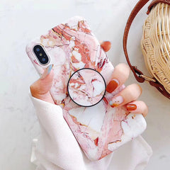 Marble + PopSocket iPhone Case