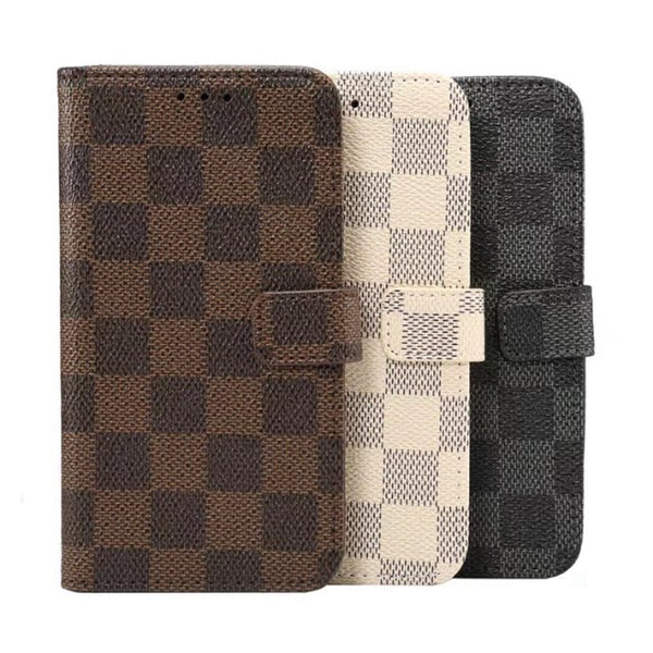 Luxury Square Lattice Flip iPhone Case