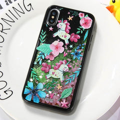 Cute Unicorn & Flamingo Quicksand iPhone Case