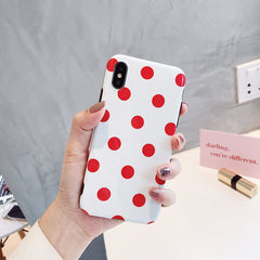 Red Dots Glossy iPhone Case
