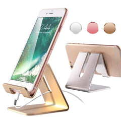 Aluminum Cell Phone Stand with Anti-Slip Base and Convenient Charging Port