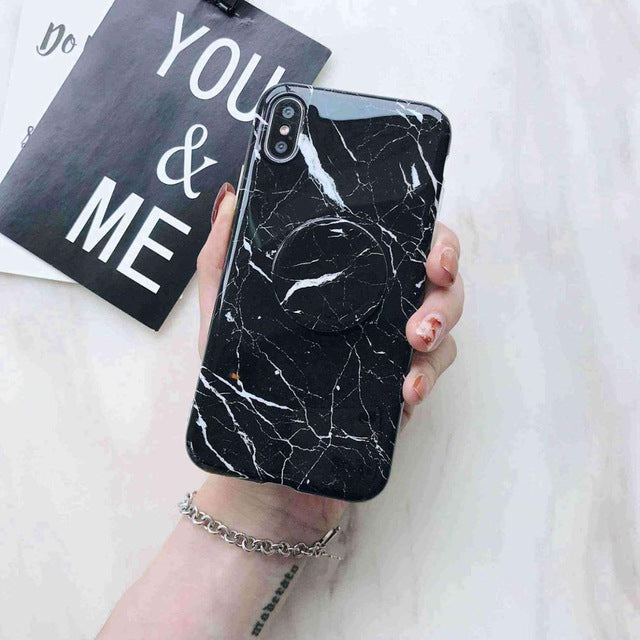 Glossy Marble + Holder iPhone Case