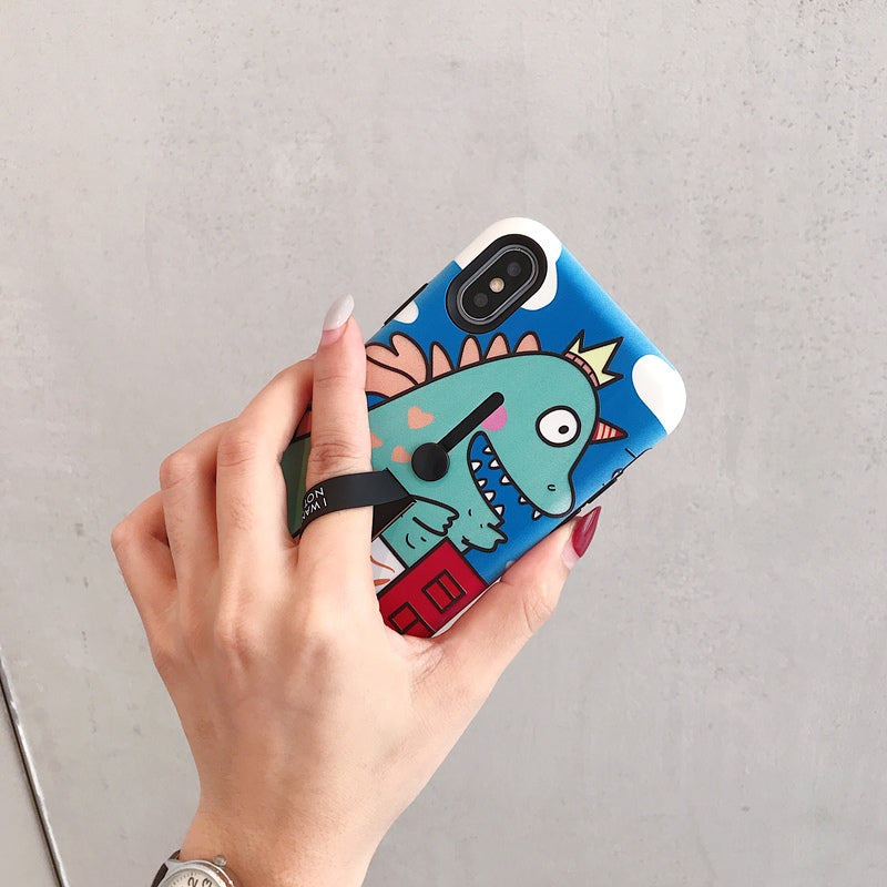 Cartoon Dinosaur & Animals Holder iPhone Case