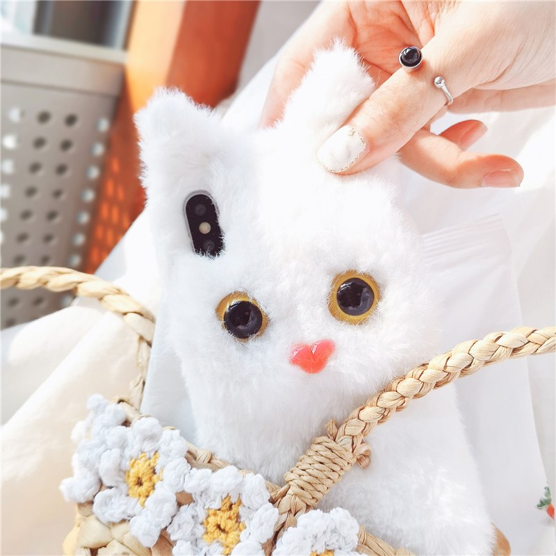 White Cat Plush Fur iPhone Case