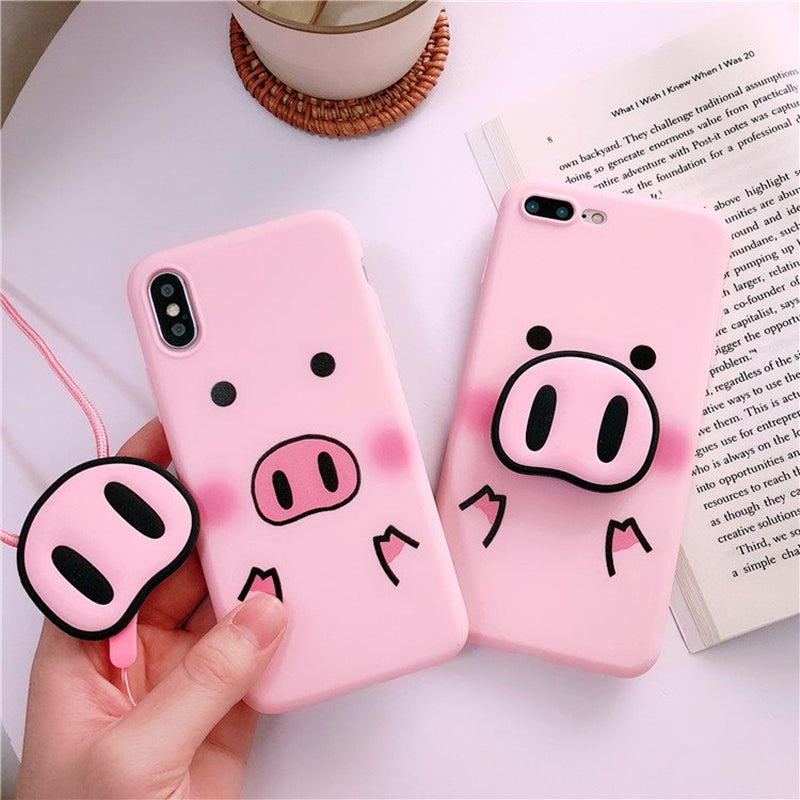 reputable site 355e2 97f3c Pink Pig + Nose Holder iPhone Case