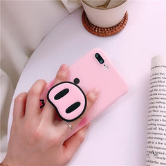 Pink Pig + Nose PopSocket iPhone Case