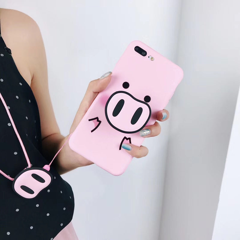 Pink Pig + Nose Holder iPhone Case