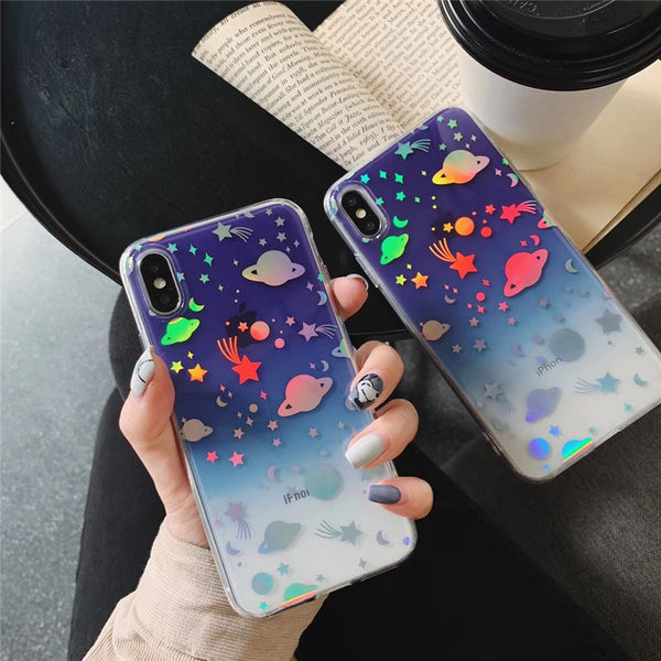 Blue Holo Space iPhone Case