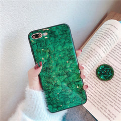 Emerald Marble + PopSocket iPhone Case