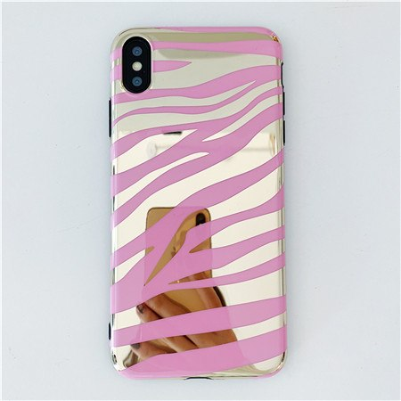 Pink Zebra Stripe Mirror iPhone Case