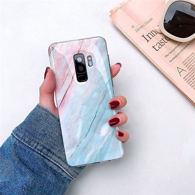 Glossy Marble + Holder Samsung Case