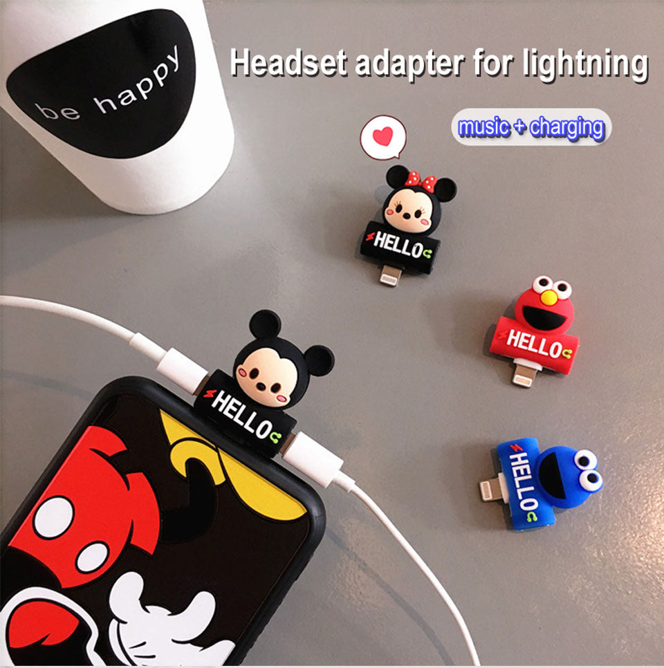 Cartoon Lightning Adapter Splitter '2 in 1'