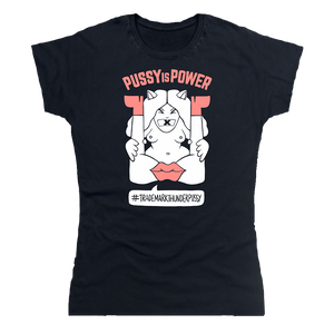 Ladies Pussy is Power Black + Pink T-Shirt