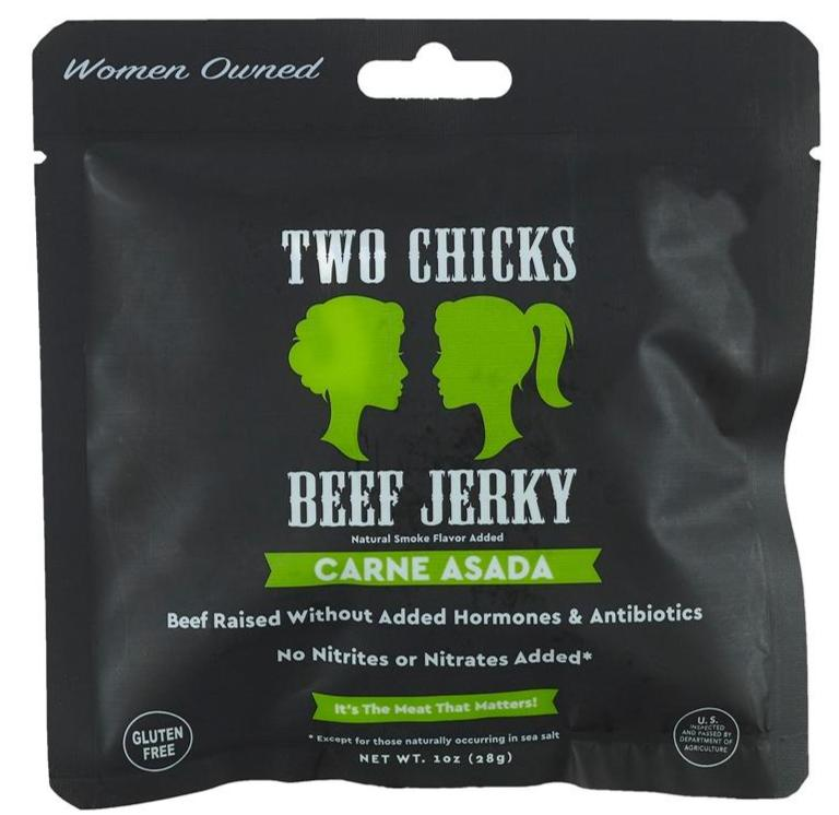 Two Chicks Beef Jerky - Carne Asada, 1oz (12 bags!)