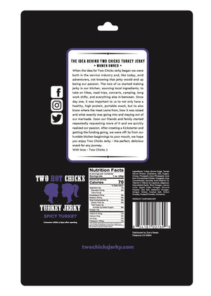 Two HOT Chicks Turkey Jerky - Spicy, 2oz (12 bags)