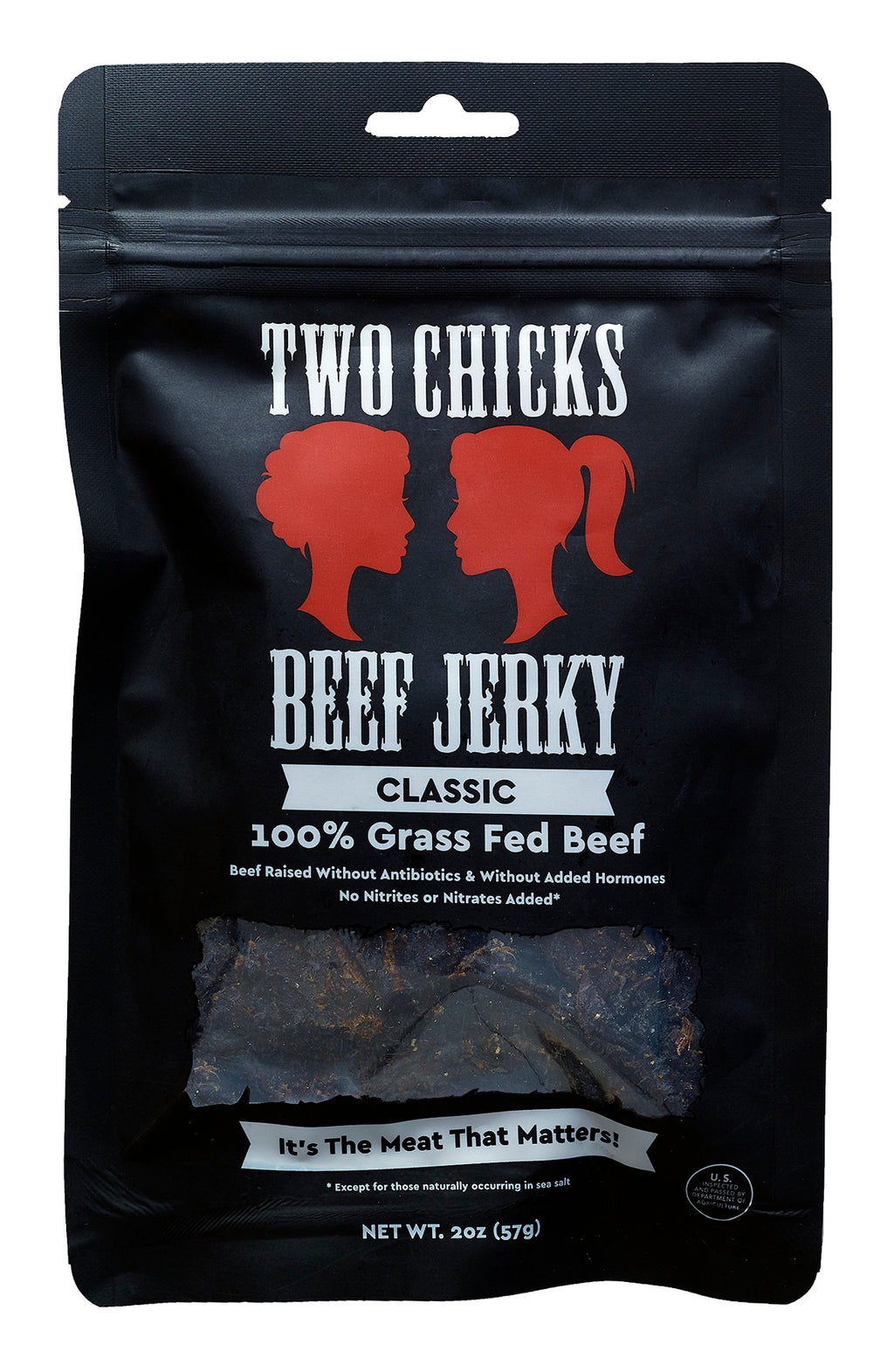 Two Chicks Beef Jerky - Classic, 2oz (12 bags!)