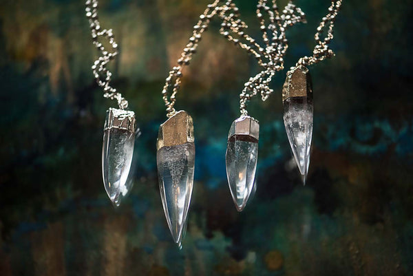 Crystal Quartz and Pyrite Necklace
