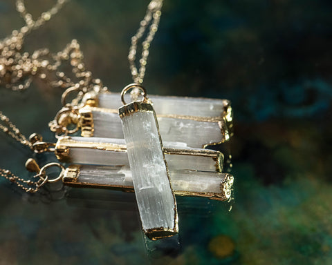 Selenite Long Pendant Necklace in Gold Filled