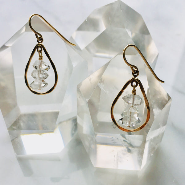 Herkimer Diamond Teardrop Earrings-Small