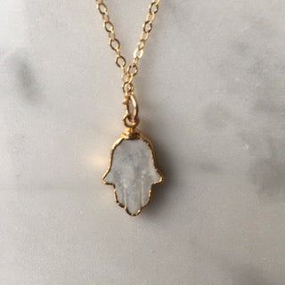 Hamsa Necklace In Mother Of Pearl