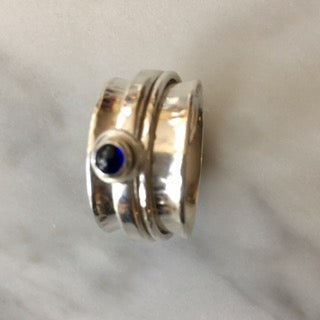 Sterling Silver Gemstone Spinner Ring