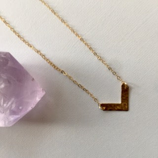 Hammered V-Bar Necklace
