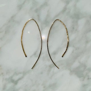 Hammered Golden Arch Earrings