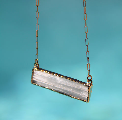 Shimmering Selenite Bar Necklace