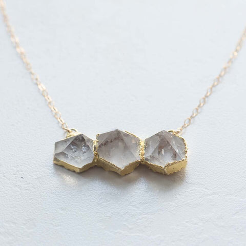 Triple Stone Crystal Quartz  Necklace