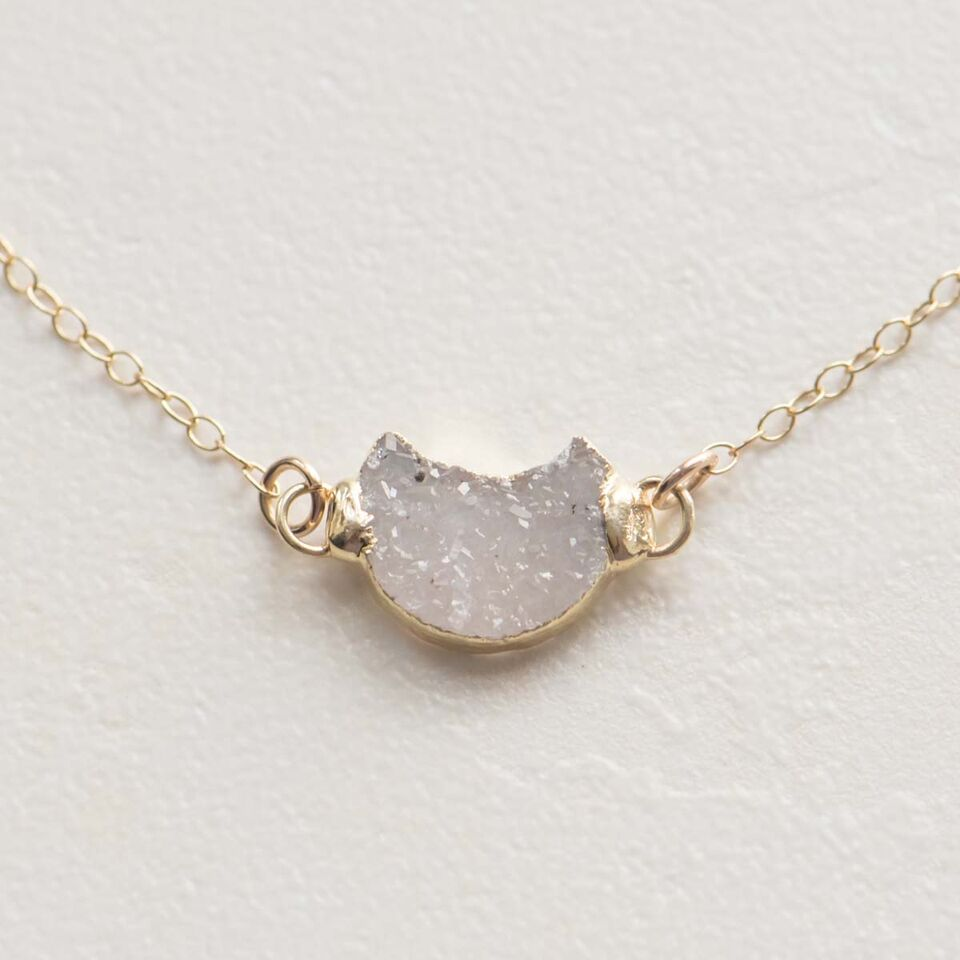 Druzy Moon Necklace in Gold filled