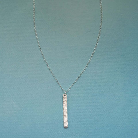 Mini Vertical Hammered Bar Necklace