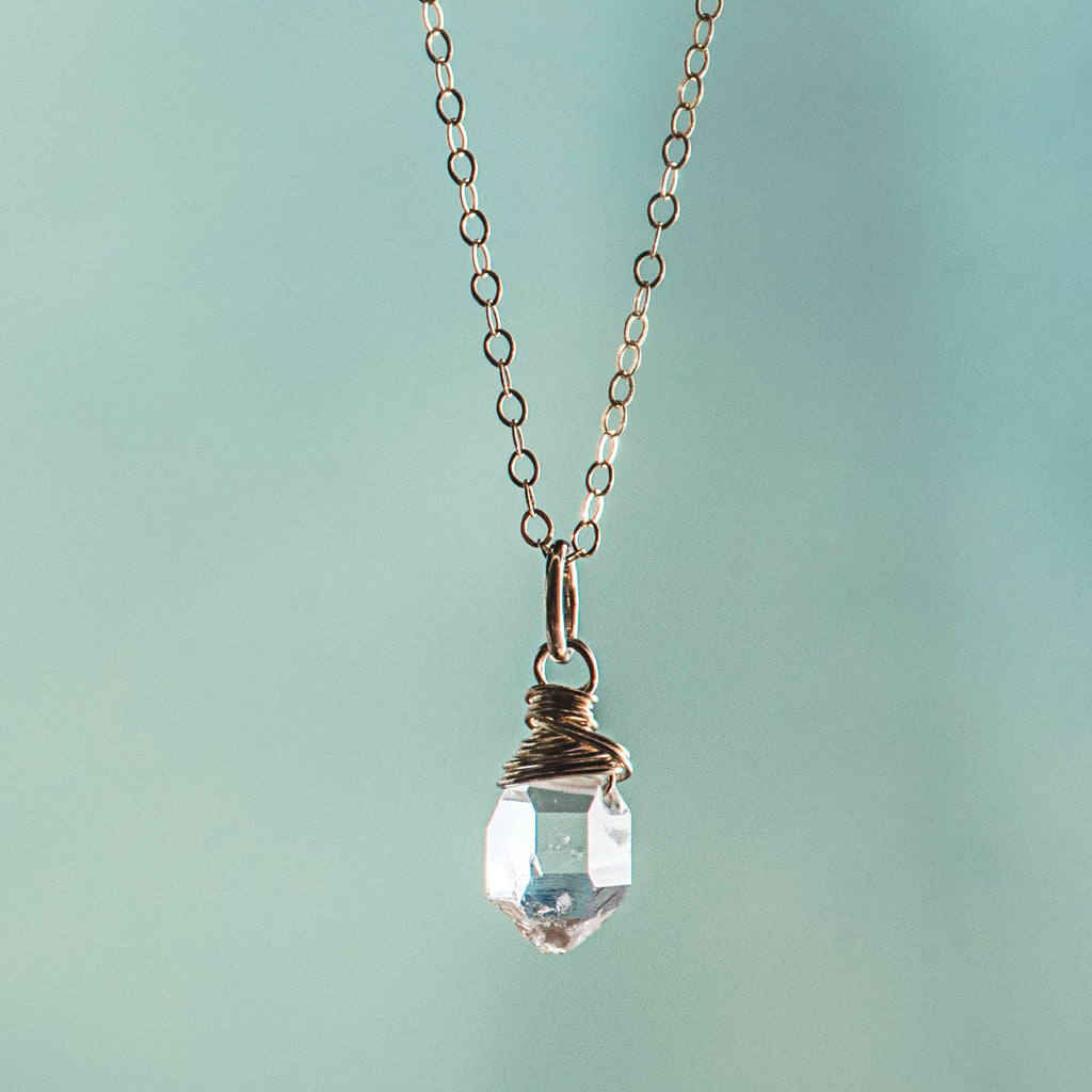 Herkimer  Diamond  Wire Wrapped Necklace