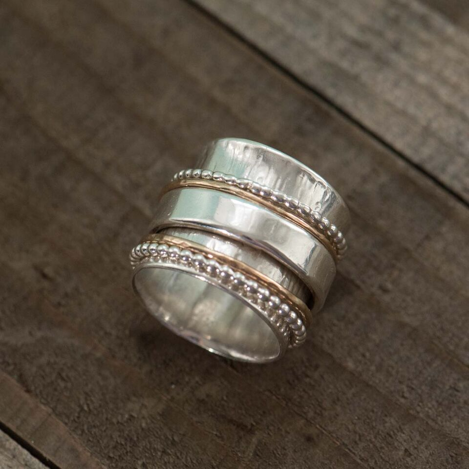 Wide Spinner Ring with Five Spinners