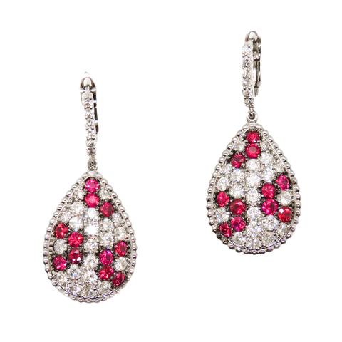 14kt White Gold Drop Style Ruby and Diamond Earrings