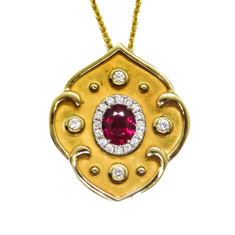 18KT YELLOW GOLD RUBY AND DIAMOND PENDANT NECKLACE