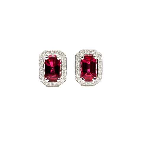 14kt White Gold Ruby with Diamond Earrings