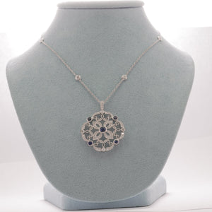 18kt Blue Sapphire with Diamonds Pendant and Necklace Set