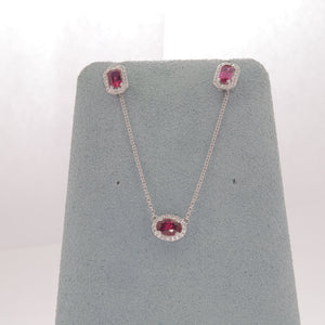 Ruby with Diamonds Necklace and Earring Set