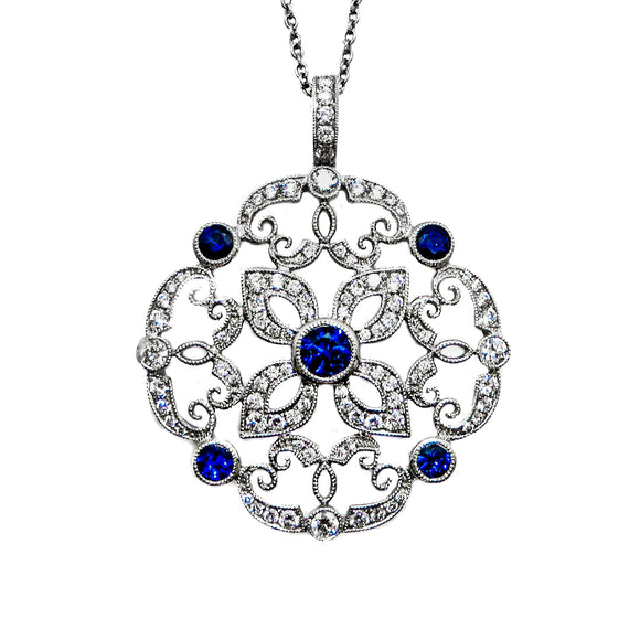 18kt White Gold Blue Sapphire with Diamonds Pendant and Diamond Necklace Set