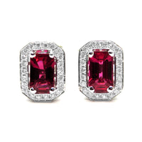 14kt White gold Ruby & Diamond halo Studs