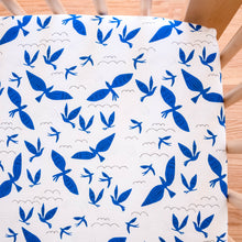 Organic Crib Sheet - No Place Like Home - Blue Birds in White