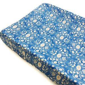 Changing Pad Cover - Flower Shop - Folk in Blue