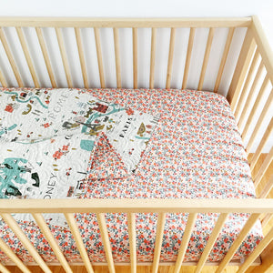 Canvas Wholecloth Quilt - Rifle Paper Co. City Maps in Peach