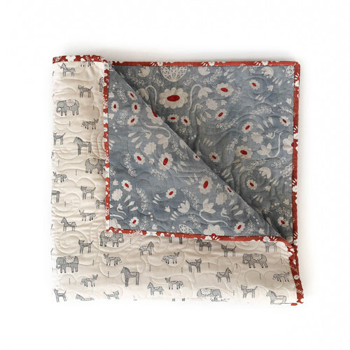 Canvas Wholecloth Quilt - Flower Shop - Folk in Grey